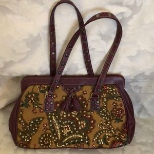 Isabella Fiori leather and beaded handbag